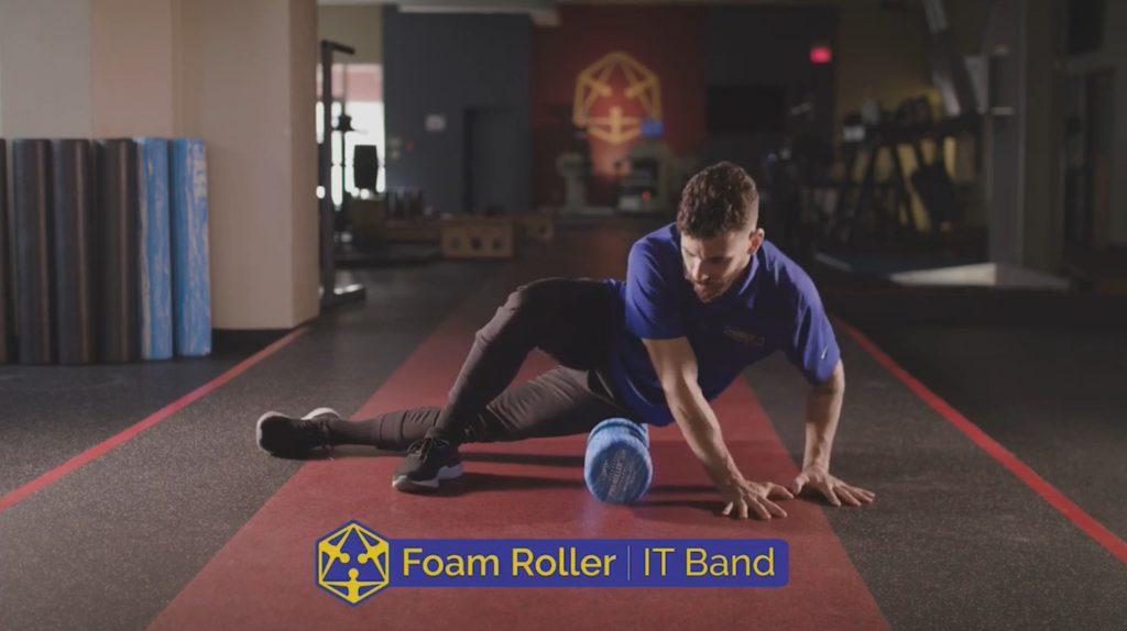 man on a foam roller